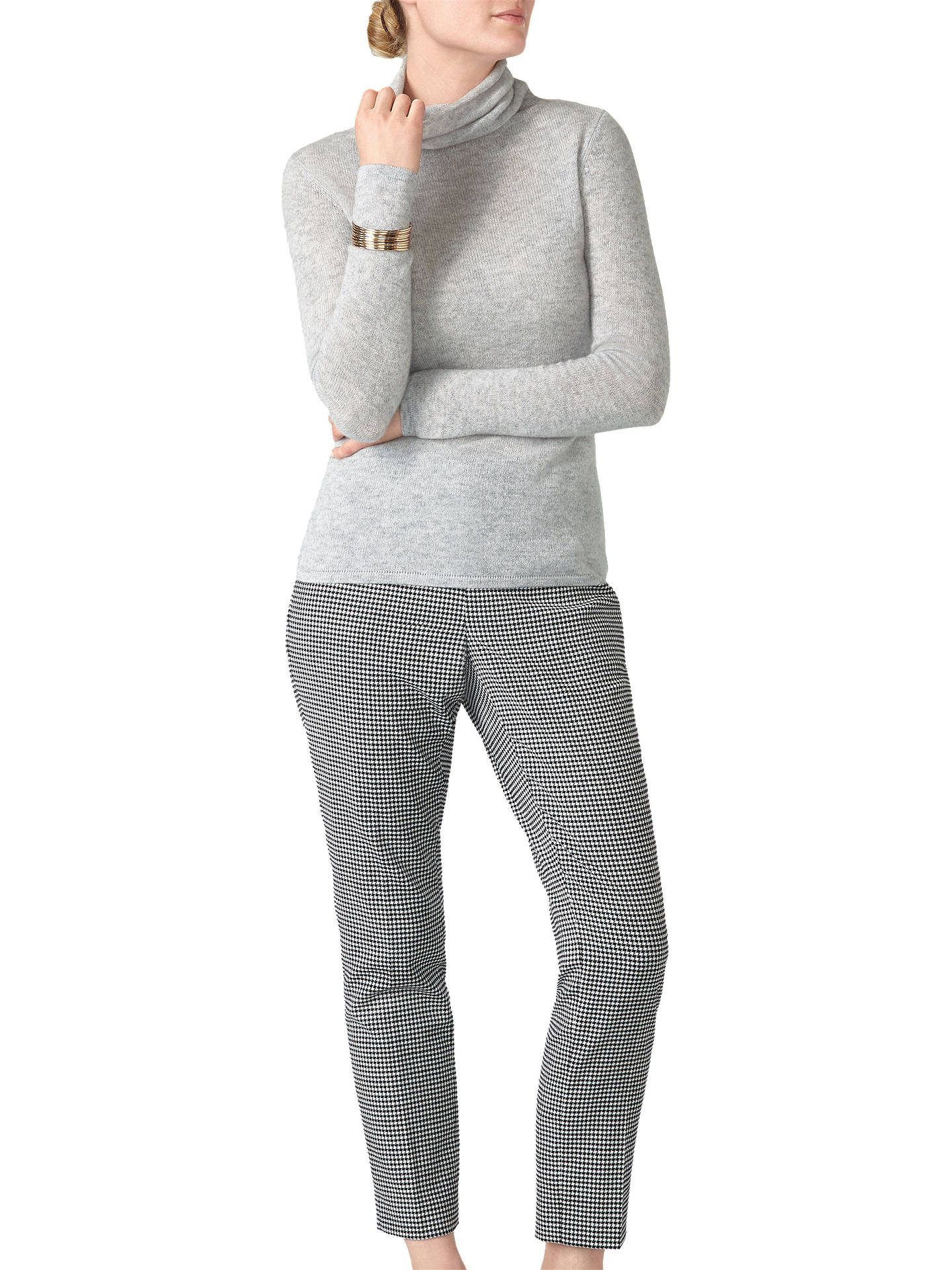 1f4e747b72a Pure Collection Gassato Cashmere Polo Neck Jumper, Heather Dove at ...