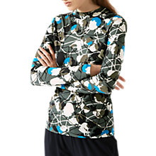 Buy Jigsaw Floral Thistle Jersey Top, Midnight Green Online at johnlewis.com