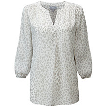 Buy Pure Collection Notch Blouse, Cream/Grey Online at johnlewis.com