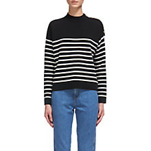 Buy Whistles Breton Stripe Jumper, Black Online at johnlewis.com