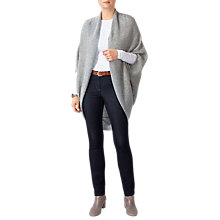 Buy Pure Collection Ribbed Shrug Cardigan, Heather Grey Online at johnlewis.com