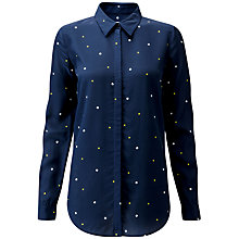 Buy Pure Collection Washed Silk Blouse, Navy/Multi Online at johnlewis.com