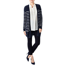 Buy Pure Collection Cashmere Stripe Longline Cardigan, Navy Stripe Online at johnlewis.com