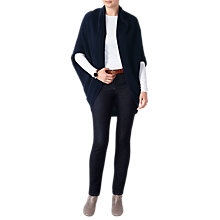 Buy Pure Collection Wool Blend Ribbed Shrug Cardigan, Navy Online at johnlewis.com