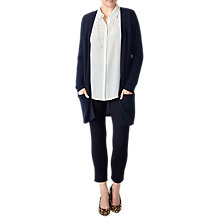Buy Pure Collection Longline Gassato Cashmere Cardigan, Navy Online at johnlewis.com