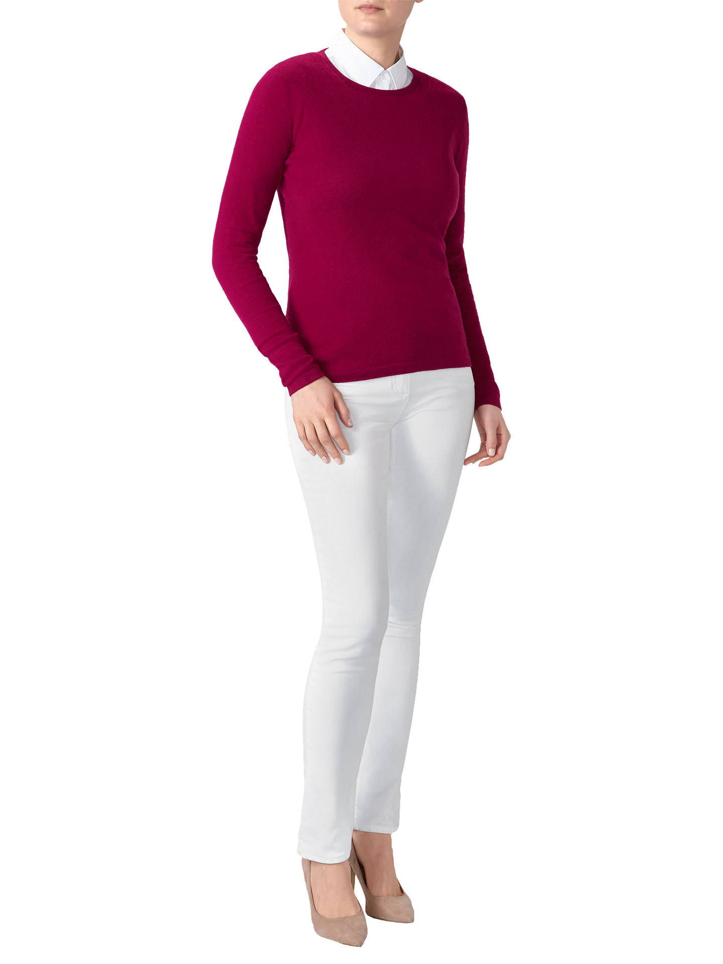 Buy Pure Collection Cashmere Crew Neck Jumper, Plum, 8 Online at johnlewis.com