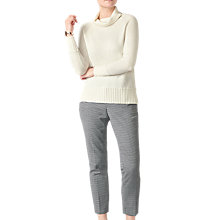 Buy Pure Collection Ribbed Trim Polo Neck Sweater, Soft White Online at johnlewis.com