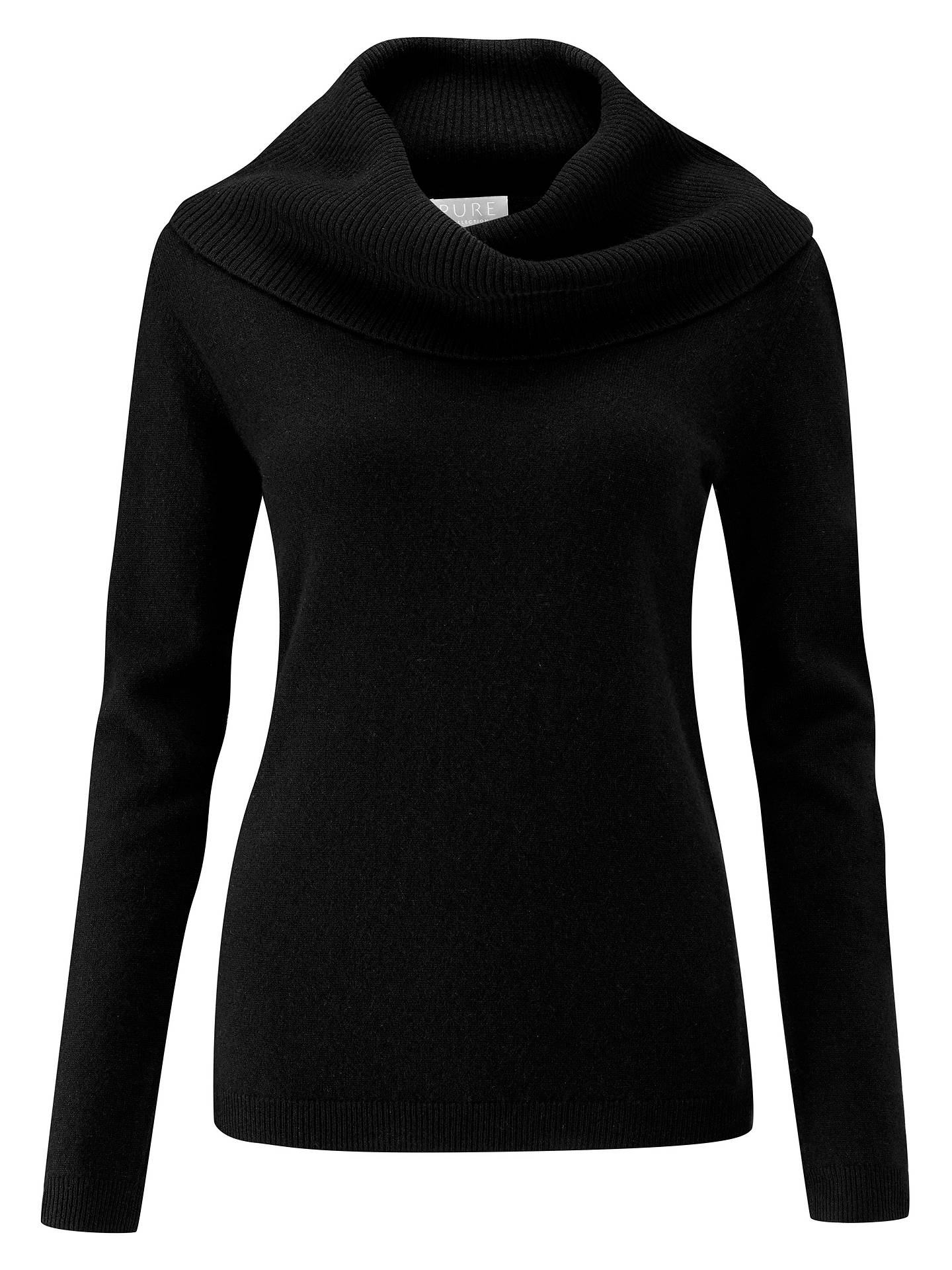 BuyPure Collection Cashmere Cowl Neck Jumper, Black, 8 Online at johnlewis.com