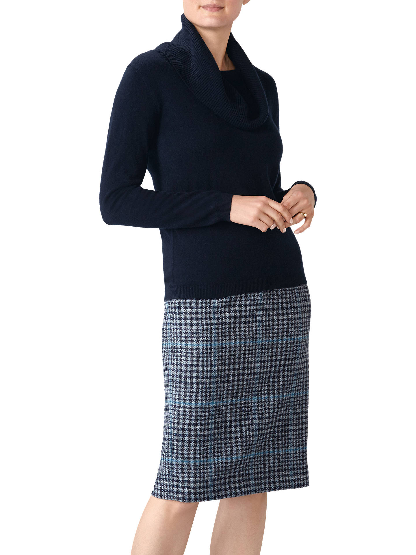 BuyPure Collection Cashmere Cowl Neck Sweater, Navy, 8 Online at johnlewis.com