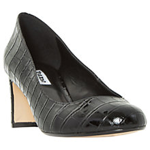 Buy Dune Adena Block Heeled Court Shoes, Black Croc Online at johnlewis.com