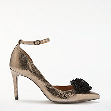 Buy AND/OR Acacia Pom Detail Court Shoes, Gold Leather Online at johnlewis.com