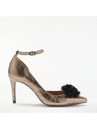 Buy AND/OR Acacia Pom Detail Court Shoes, Gold Leather, 8 Online at johnlewis.com