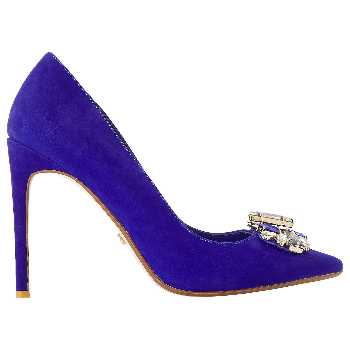 BuyDune Bardot Jewelled Stiletto Heeled Court Shoes, Blue, 3 Online at johnlewis.com