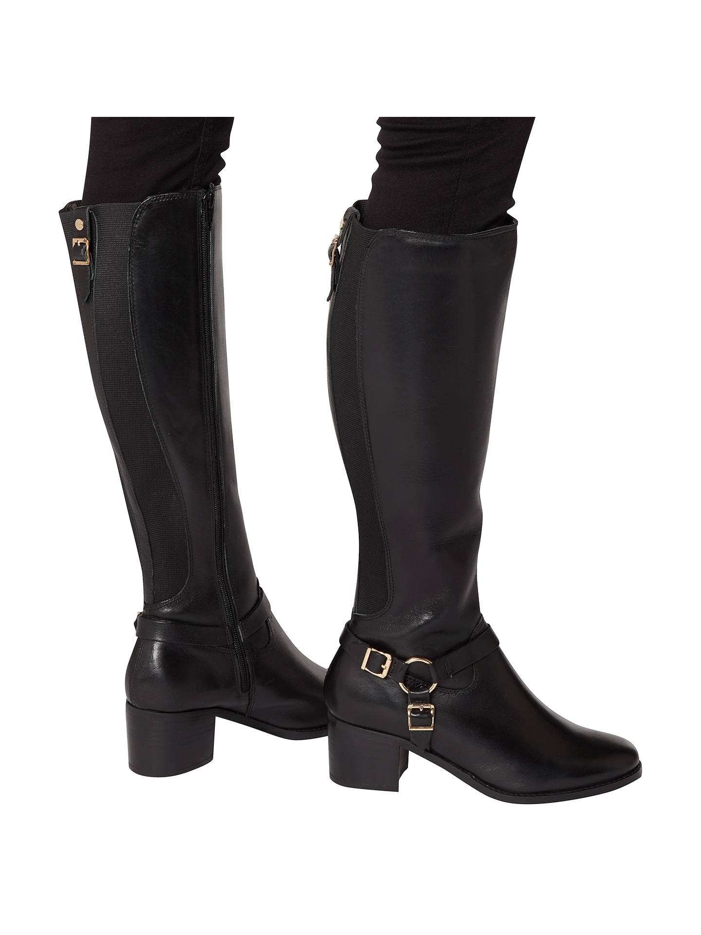 BuyDune Vicky Block Heeled Knee High Boots, Black, 3 Online at johnlewis.com
