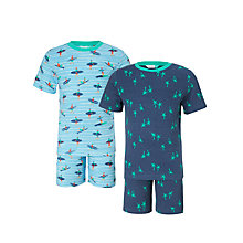 Buy John Lewis Children's Surfer Shortie Pyjamas, Pack of 2, Blue Online at johnlewis.com