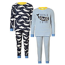 Buy John Lewis Children's Whale Print Pyjamas, Pack of 2, Blue Online at johnlewis.com