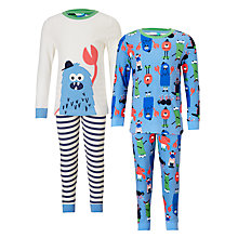 Buy John Lewis Children's Monster Pyjamas, Pack of 2, Blue/White Online at johnlewis.com