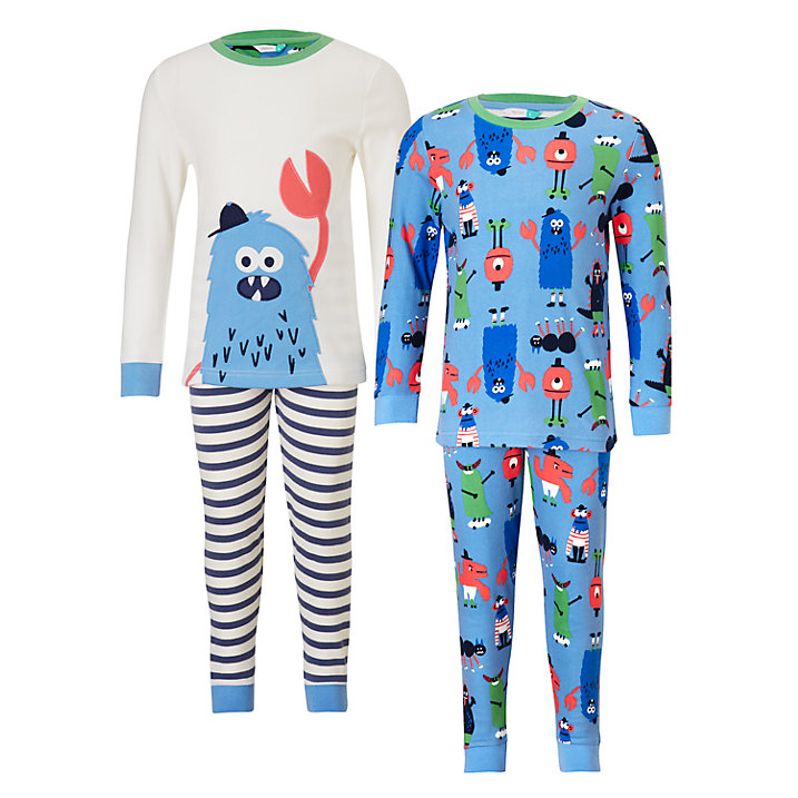 Buy John Lewis Children's Monster Pyjamas, Pack of 2, Blue/White, 2 years Online at johnlewis.com