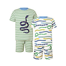 Buy John Lewis Children's Snakes Shortie Pyjamas, Pack of 2, Green Online at johnlewis.com