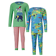 Buy John Lewis Children's World Safari Pyjamas, Pack of 2, Green/Blue Online at johnlewis.com