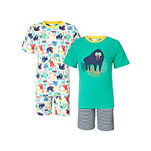 Buy John Lewis Children's Monkey Jungle Shortie Pyjamas, Pack of 2, White/Green Online at johnlewis.com