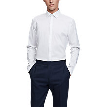 Buy Reiss Mauro Concealed Placket Slim Fit Cotton Shirt, White Online at johnlewis.com