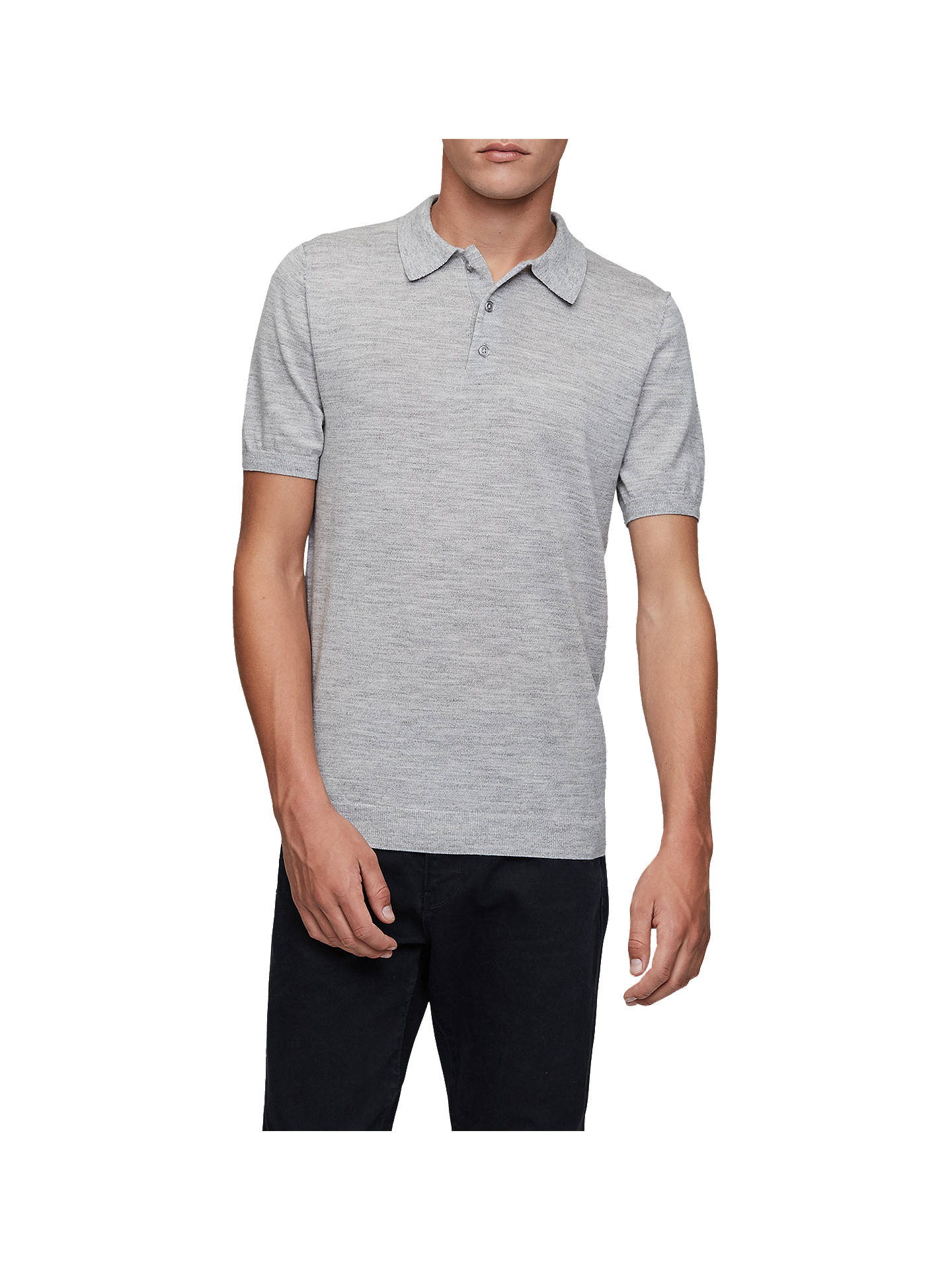 BuyReiss Manor Knit Polo Shirt, Grey, XS Online at johnlewis.com