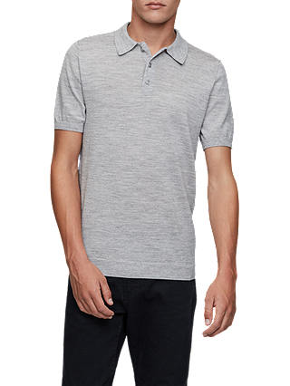 Buy Reiss Manor Knit Polo Shirt, Grey, XS Online at johnlewis.com