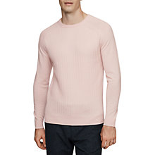 Buy Reiss Neilson Textured Wool Jumper, Pink Online at johnlewis.com