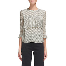 Buy Whistles Sophiana Silk Blend Dobby Blouse, Ivory Online at johnlewis.com