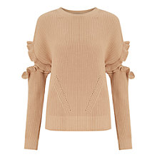 Buy Miss Selfridge Frill Elbow Jumper, Camel Online at johnlewis.com