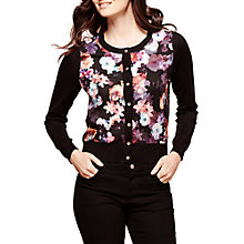 Buy Yumi Floral Woven Cardigan, Black Online at johnlewis.com