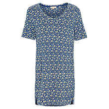 Buy Fat Face Liza Jacquard Floral Longline Top, Indigo Online at johnlewis.com