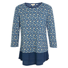 Buy Fat Face Maya Jacquard Floral Dual Layered Top, Blue/Cream Online at johnlewis.com