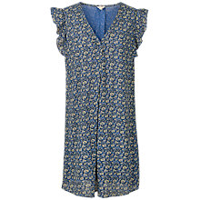 Buy Fat Face Nicola Jaquard Floral Dress, Blue/Multi Online at johnlewis.com