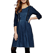 Buy Yumi Denim Fit And Flare Frill Dress, Petrol Blue Online at johnlewis.com