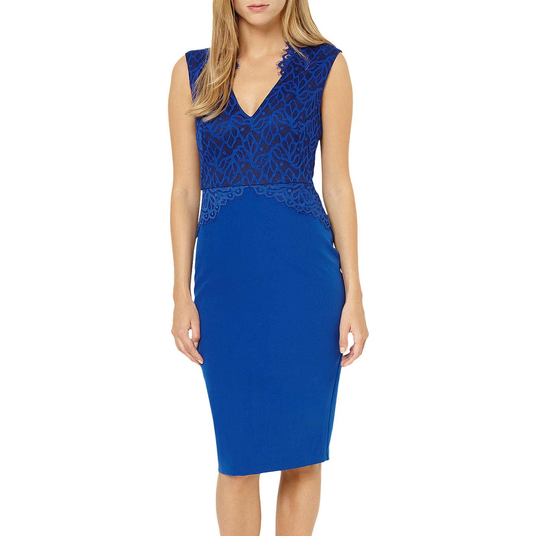 Damsel In A Dress Bellini Dress: Damsel In A Dress Lace Bodice Dress, Cobalt At John Lewis