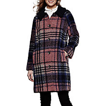 Buy Yumi Checked Coat, Burgundy/Multi Online at johnlewis.com