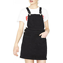 Buy Miss Selfridge Petite Denim Pinny Dress, Black Online at johnlewis.com