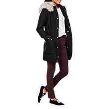 Buy Mint Velvet Luxe Faux Fur Trim Parka, Black Online at johnlewis.com