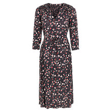 Buy Fat Face Lorna Poppy Meadow V Neck Shift Dress, Black/Multi Online at johnlewis.com