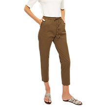 Buy Jaeger Front Pleat Drawstring Trousers, Khaki Online at johnlewis.com