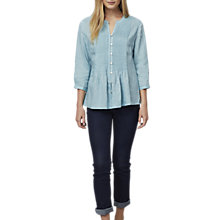 Buy East Linen Pintuck Blouse, Duck Egg Online at johnlewis.com