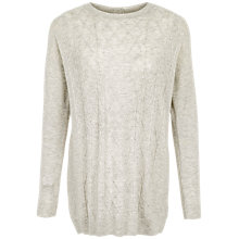 Buy Fat Face Charlotte Cable Jumper, Light Grey Online at johnlewis.com