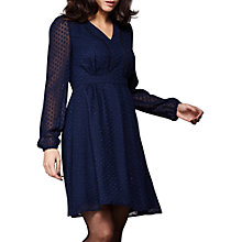Buy Yumi Dobby Spot Chiffon Dress, Navy Online at johnlewis.com