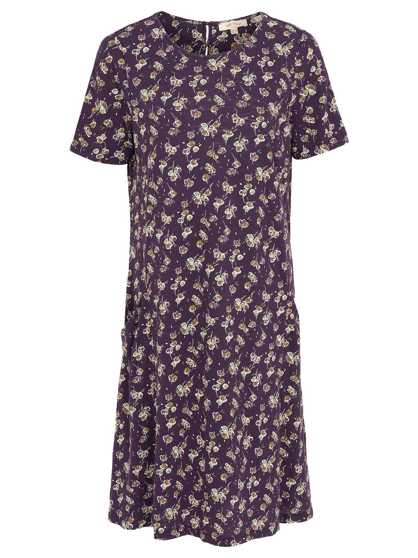 Fat Face Simone Teatime Floral Dress, Aubergine at John Lewis & Partners