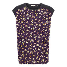 Buy Fat Face Elena Teatime Floral Top, Aubergine Online at johnlewis.com