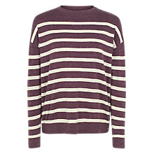 Buy Fat Face Salcombe Stripe Jumper, Aubergine Online at johnlewis.com