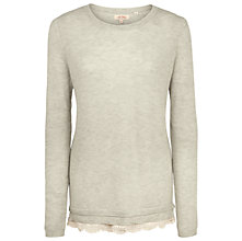Buy Fat Face Sophie Knitted Lace Trim Jumper, Light Grey Online at johnlewis.com