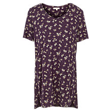 Buy Fat Face Liza Teatime Floral Longline Top, Aubergine Online at johnlewis.com